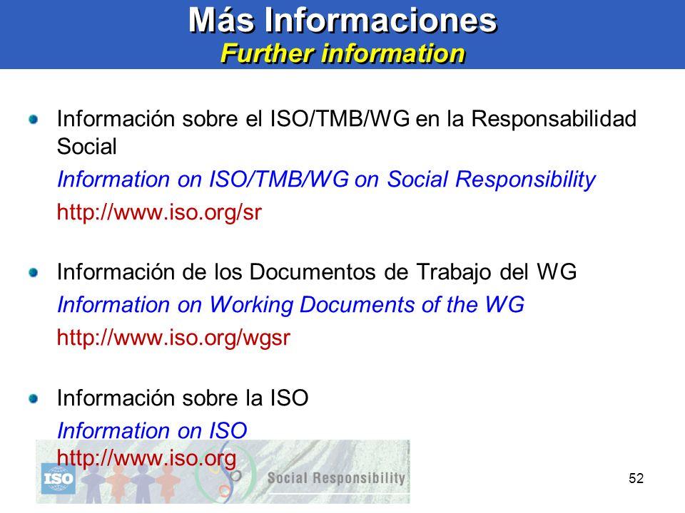 52 Más Informaciones Further information Información sobre el ISO/TMB/WG en la Responsabilidad Social Information on ISO/TMB/WG on Social Responsibili
