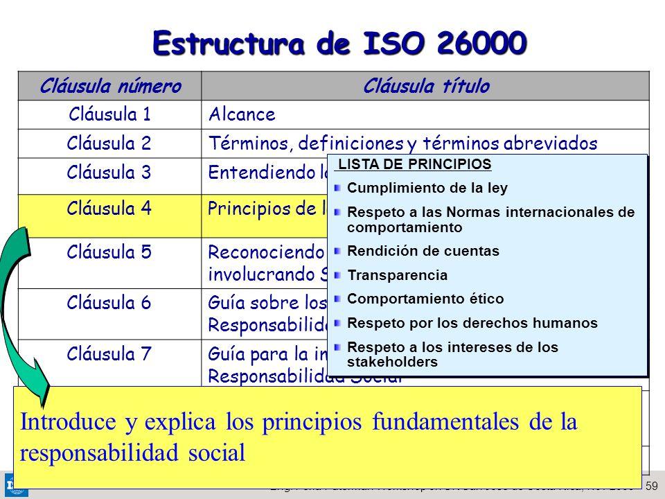 59Eng. Perla Puterman Workshop on SR San Jose de Costa Rica, Nov 2009 DEVT 2009 Estructura de ISO 26000 Cláusula númeroCláusula título Cláusula 1Alcan