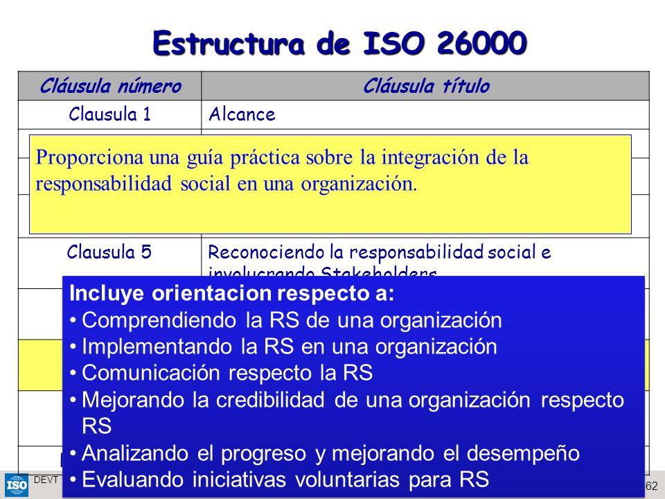 62Eng. Perla Puterman Workshop on SR San Jose de Costa Rica, Nov 2009 DEVT 2009 Estructura de ISO 26000 Cláusula númeroCláusula título Clausula 1Alcan