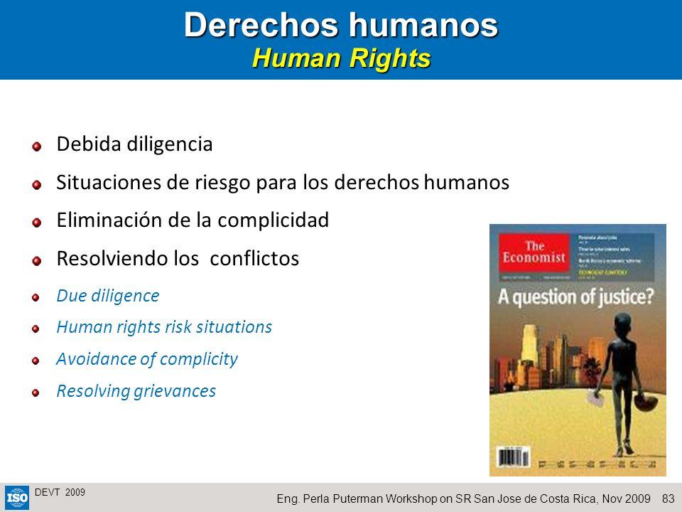 83Eng. Perla Puterman Workshop on SR San Jose de Costa Rica, Nov 2009 DEVT 2009 Derechos humanos Human Rights Debida diligencia Situaciones de riesgo