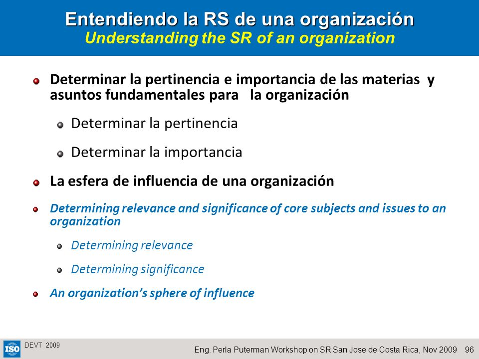 96Eng. Perla Puterman Workshop on SR San Jose de Costa Rica, Nov 2009 DEVT 2009 Entendiendo la RS de una organización Entendiendo la RS de una organiz