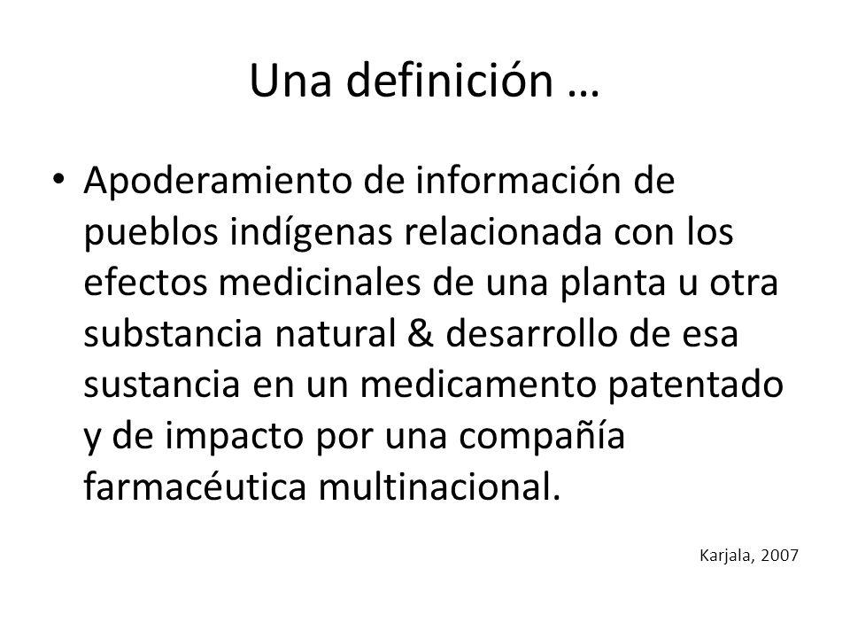 Una definición … Apoderamiento de información de pueblos indígenas relacionada con los efectos medicinales de una planta u otra substancia natural & d