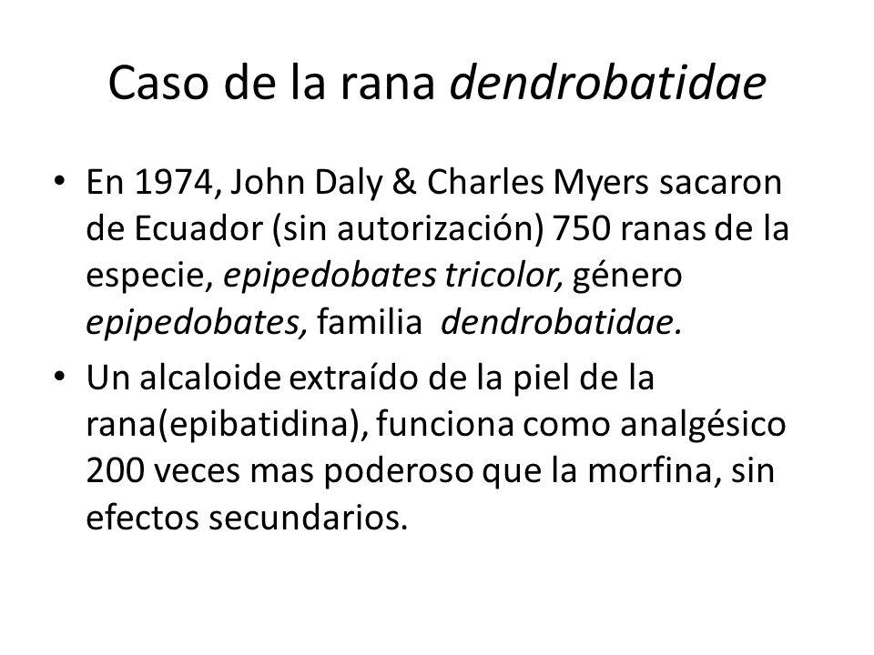 Caso de la rana dendrobatidae En 1974, John Daly & Charles Myers sacaron de Ecuador (sin autorización) 750 ranas de la especie, epipedobates tricolor,