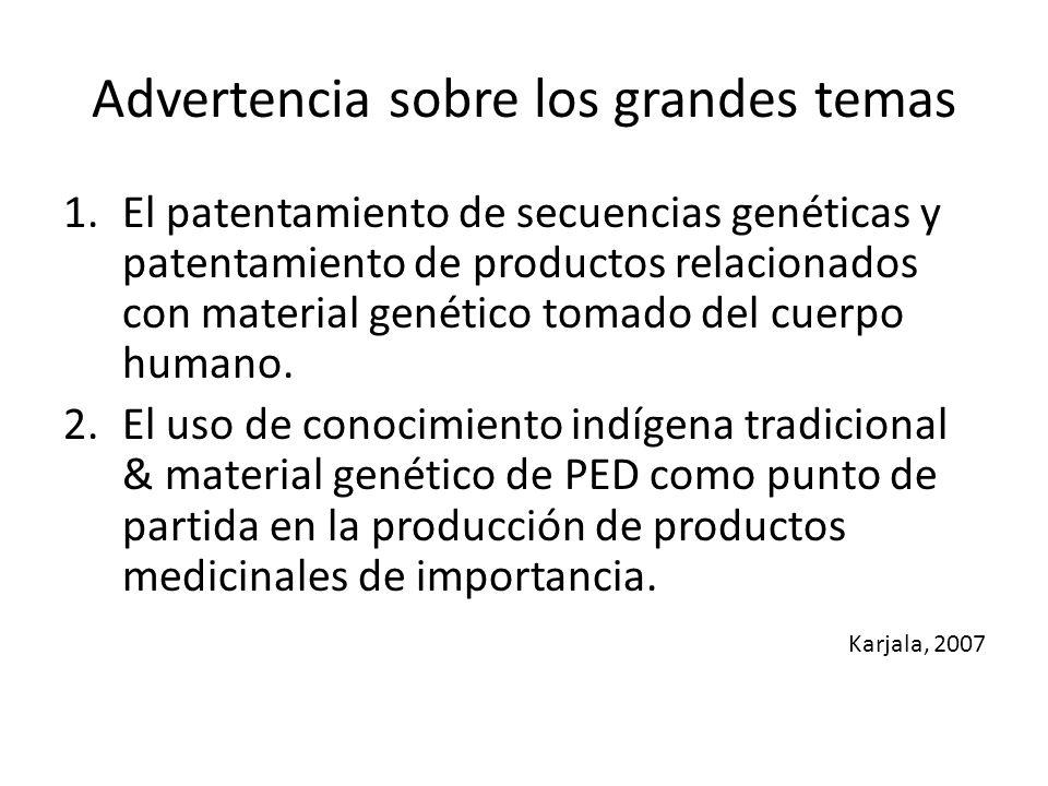 Advertencia sobre los grandes temas 1.El patentamiento de secuencias genéticas y patentamiento de productos relacionados con material genético tomado