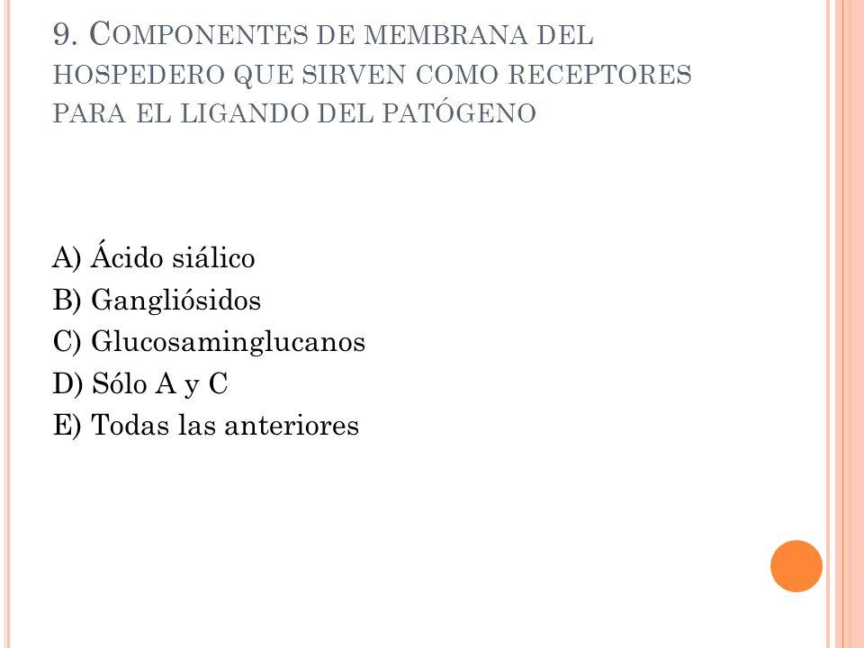 9. C OMPONENTES DE MEMBRANA DEL HOSPEDERO QUE SIRVEN COMO RECEPTORES PARA EL LIGANDO DEL PATÓGENO A) Ácido siálico B) Gangliósidos C) Glucosaminglucan