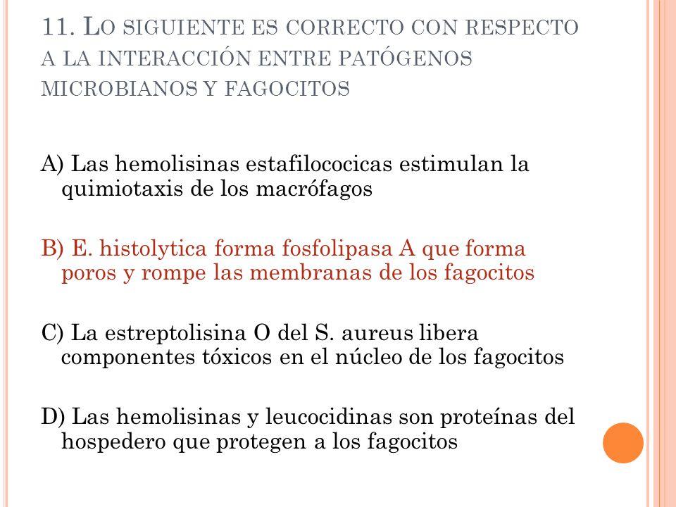11. L O SIGUIENTE ES CORRECTO CON RESPECTO A LA INTERACCIÓN ENTRE PATÓGENOS MICROBIANOS Y FAGOCITOS A) Las hemolisinas estafilococicas estimulan la qu