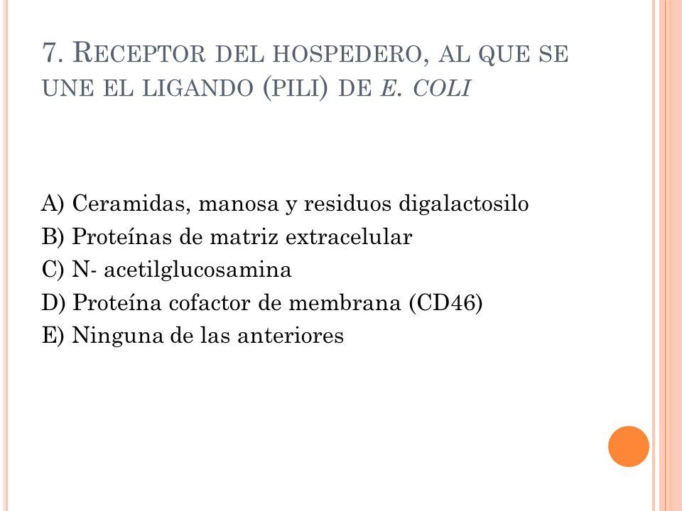 7. R ECEPTOR DEL HOSPEDERO, AL QUE SE UNE EL LIGANDO ( PILI ) DE E. COLI A) Ceramidas, manosa y residuos digalactosilo B) Proteínas de matriz extracel