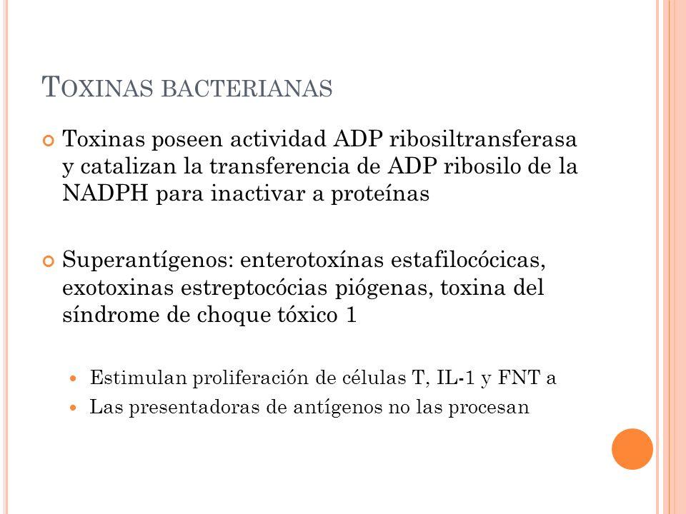 T OXINAS BACTERIANAS Toxinas poseen actividad ADP ribosiltransferasa y catalizan la transferencia de ADP ribosilo de la NADPH para inactivar a proteín