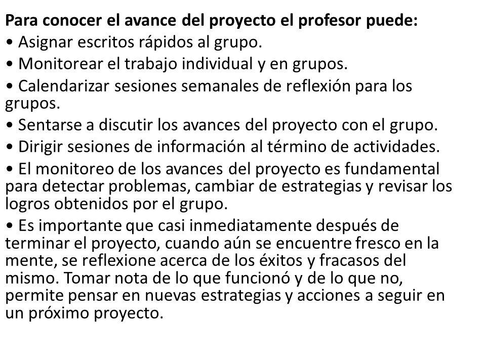 Para conocer el avance del proyecto el profesor puede: Asignar escritos rápidos al grupo. Monitorear el trabajo individual y en grupos. Calendarizar s