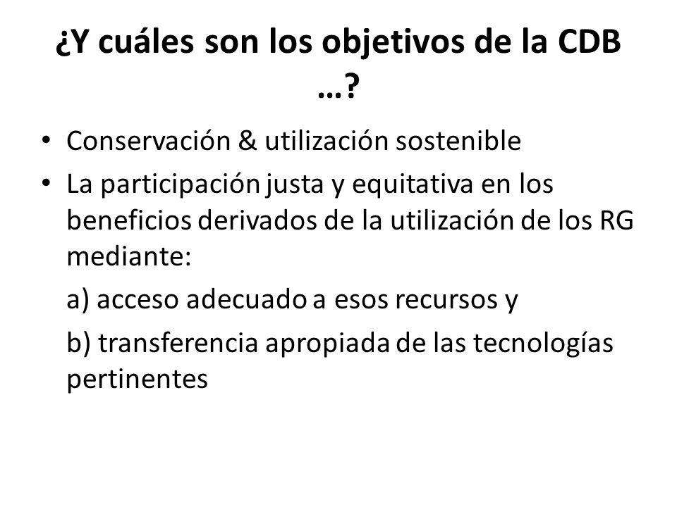 ¿Y cuáles son los objetivos de la CDB …? Conservación & utilización sostenible La participación justa y equitativa en los beneficios derivados de la u