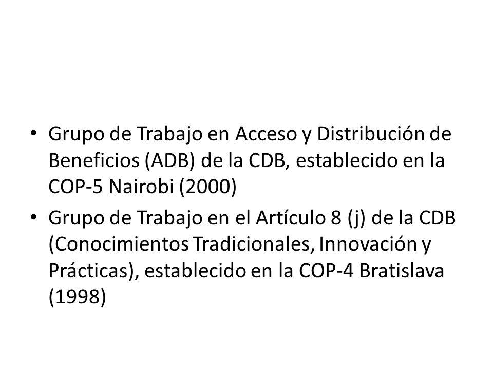Grupo de Trabajo en Acceso y Distribución de Beneficios (ADB) de la CDB, establecido en la COP-5 Nairobi (2000) Grupo de Trabajo en el Artículo 8 (j) de la CDB (Conocimientos Tradicionales, Innovación y Prácticas), establecido en la COP-4 Bratislava (1998)