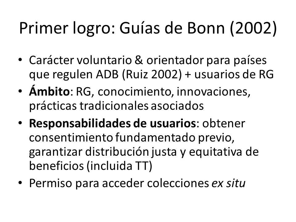 Primer logro: Guías de Bonn (2002) Carácter voluntario & orientador para países que regulen ADB (Ruiz 2002) + usuarios de RG Ámbito: RG, conocimiento,