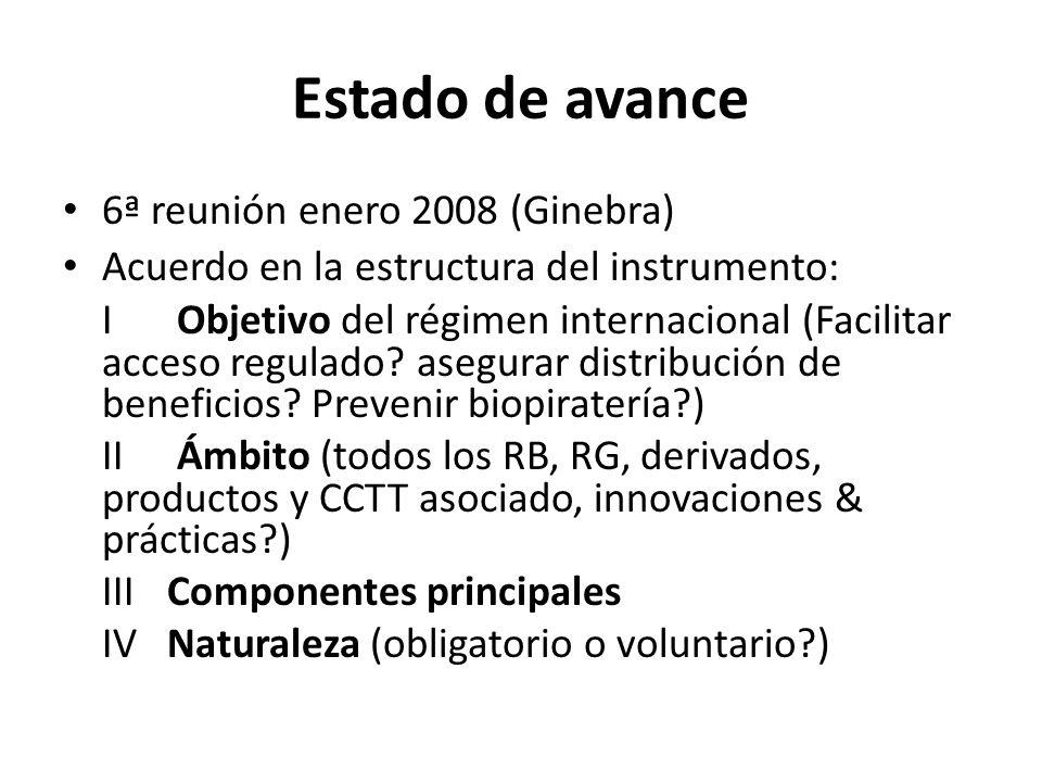 Estado de avance 6ª reunión enero 2008 (Ginebra) Acuerdo en la estructura del instrumento: I Objetivo del régimen internacional (Facilitar acceso regulado.