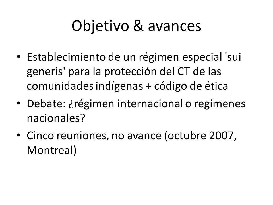 Objetivo & avances Establecimiento de un régimen especial sui generis para la protección del CT de las comunidades indígenas + código de ética Debate: ¿régimen internacional o regímenes nacionales.