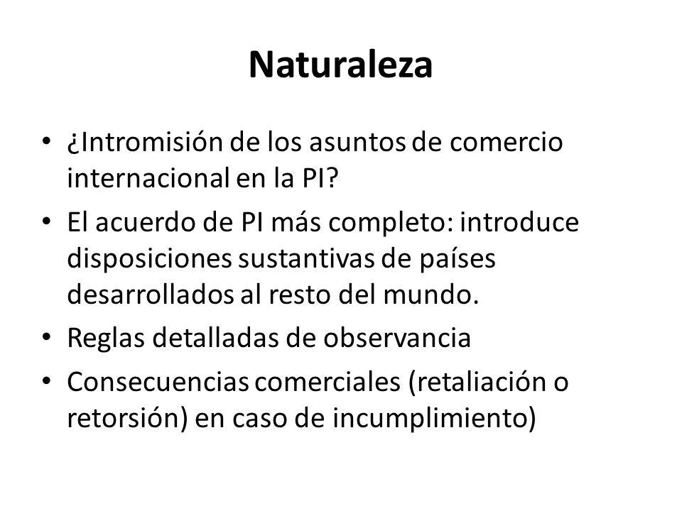Naturaleza ¿Intromisión de los asuntos de comercio internacional en la PI? El acuerdo de PI más completo: introduce disposiciones sustantivas de paíse