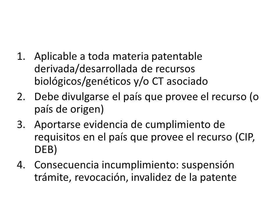 1.Aplicable a toda materia patentable derivada/desarrollada de recursos biológicos/genéticos y/o CT asociado 2.Debe divulgarse el país que provee el recurso (o país de origen) 3.Aportarse evidencia de cumplimiento de requisitos en el país que provee el recurso (CIP, DEB) 4.Consecuencia incumplimiento: suspensión trámite, revocación, invalidez de la patente