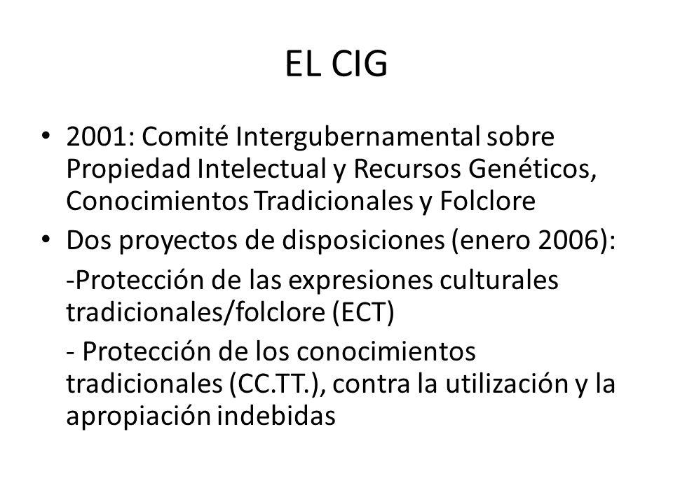 EL CIG 2001: Comité Intergubernamental sobre Propiedad Intelectual y Recursos Genéticos, Conocimientos Tradicionales y Folclore Dos proyectos de disposiciones (enero 2006): -Protección de las expresiones culturales tradicionales/folclore (ECT) - Protección de los conocimientos tradicionales (CC.TT.), contra la utilización y la apropiación indebidas