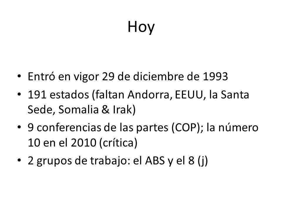Hoy Entró en vigor 29 de diciembre de 1993 191 estados (faltan Andorra, EEUU, la Santa Sede, Somalia & Irak) 9 conferencias de las partes (COP); la número 10 en el 2010 (crítica) 2 grupos de trabajo: el ABS y el 8 (j)