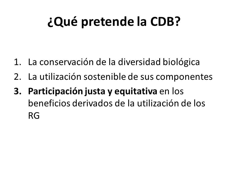 ¿Qué pretende la CDB? 1.La conservación de la diversidad biológica 2.La utilización sostenible de sus componentes 3.Participación justa y equitativa e