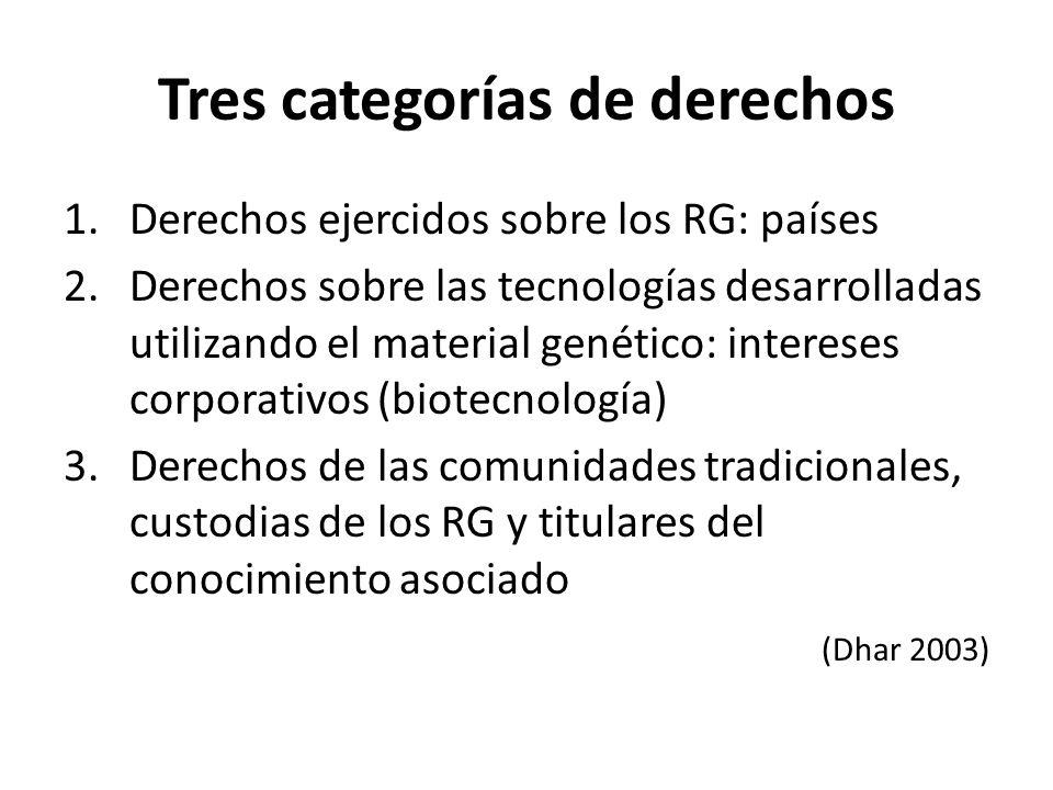 Tres categorías de derechos 1.Derechos ejercidos sobre los RG: países 2.Derechos sobre las tecnologías desarrolladas utilizando el material genético: intereses corporativos (biotecnología) 3.Derechos de las comunidades tradicionales, custodias de los RG y titulares del conocimiento asociado (Dhar 2003)