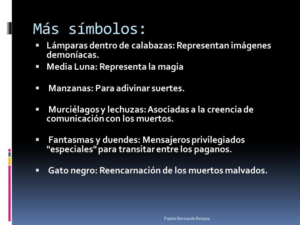 Más símbolos: Lámparas dentro de calabazas: Representan imágenes demoníacas. Media Luna: Representa la magia Manzanas: Para adivinar suertes. Murciéla