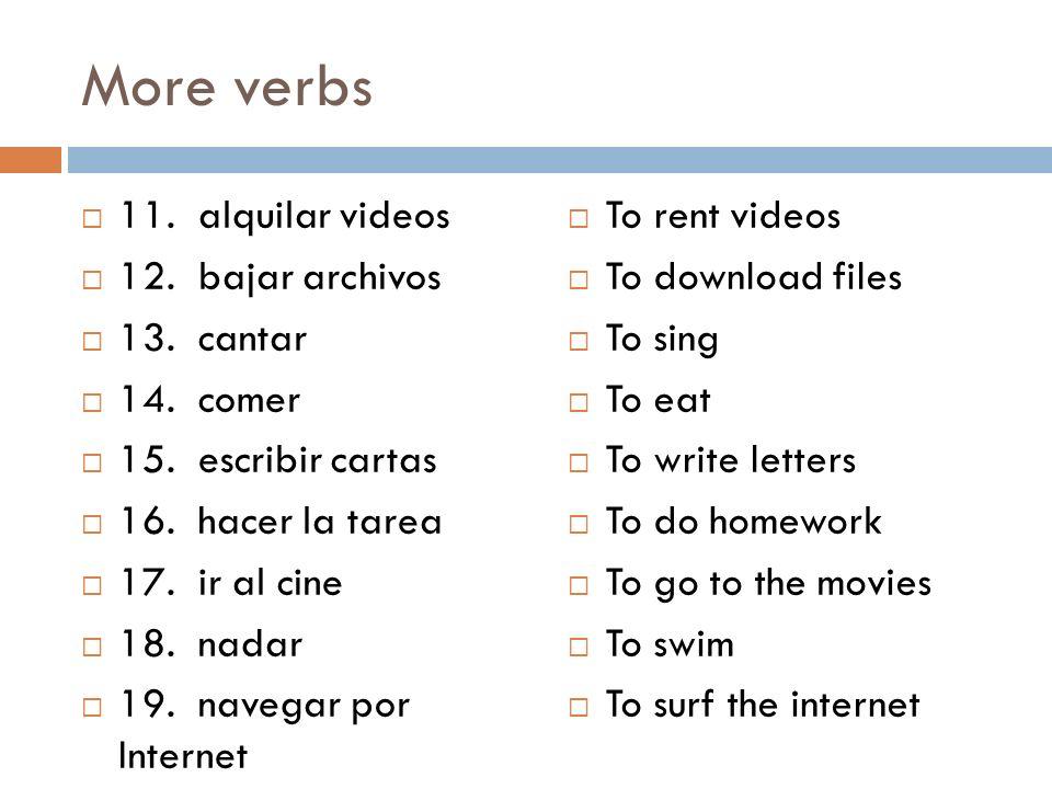 More verbs 11. alquilar videos 12. bajar archivos 13. cantar 14. comer 15. escribir cartas 16. hacer la tarea 17. ir al cine 18. nadar 19. navegar por