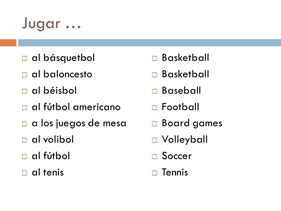 Jugar … al básquetbol al baloncesto al béisbol al fútbol americano a los juegos de mesa al volibol al fútbol al tenis Basketball Baseball Football Boa