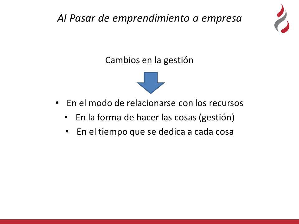 Al Pasar de emprendimiento a empresa Cambios en la gestión En el modo de relacionarse con los recursos En la forma de hacer las cosas (gestión) En el tiempo que se dedica a cada cosa