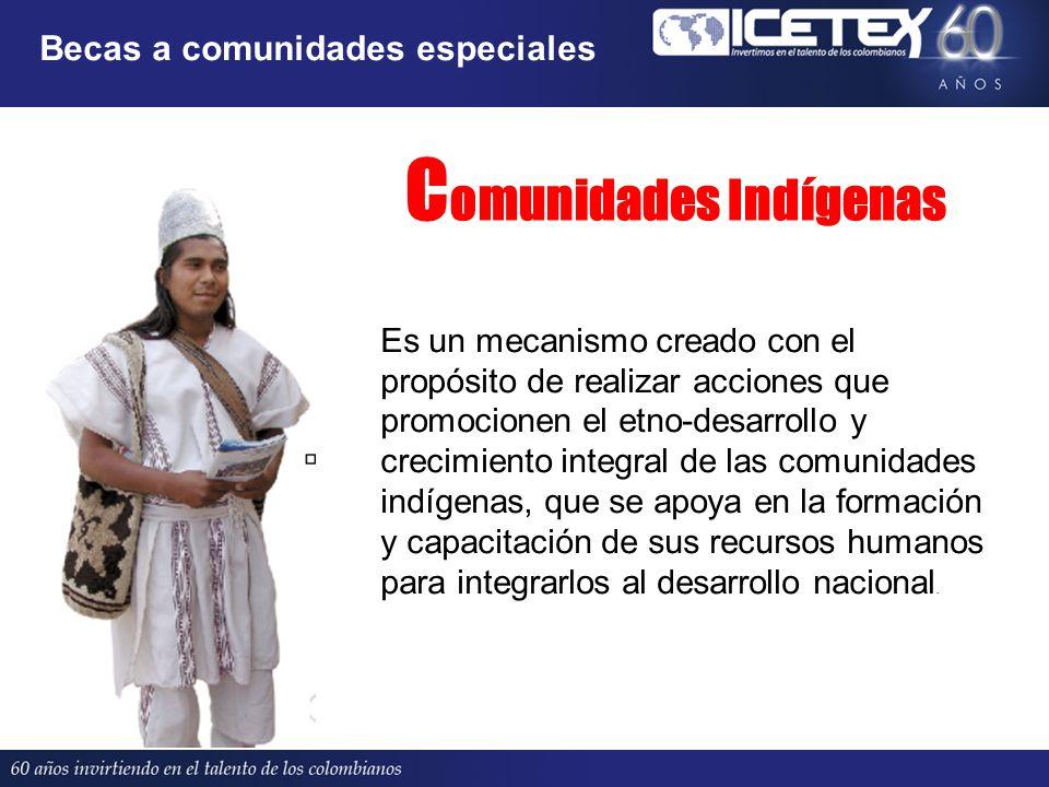 C omunidades Indígenas Es un mecanismo creado con el propósito de realizar acciones que promocionen el etno-desarrollo y crecimiento integral de las c