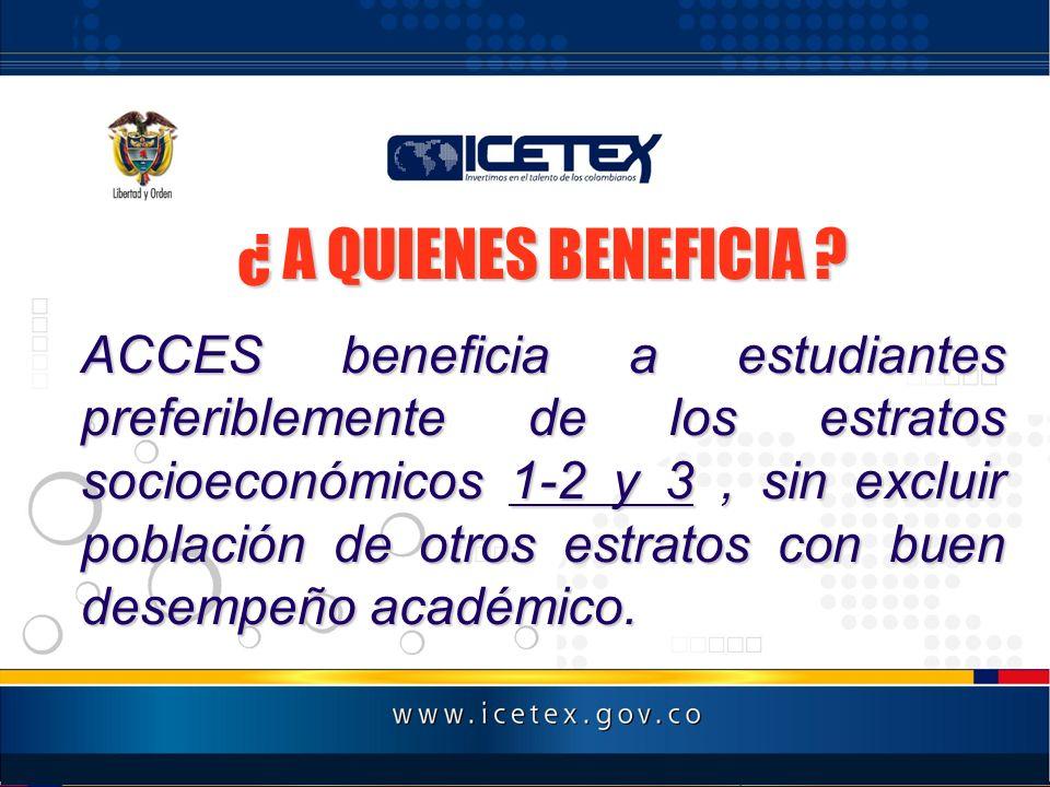 PRESENTACION DEL TEMARIO ¿ A QUIENES BENEFICIA ? ACCES beneficia a estudiantes preferiblemente de los estratos socioeconómicos 1-2 y 3, sin excluir po