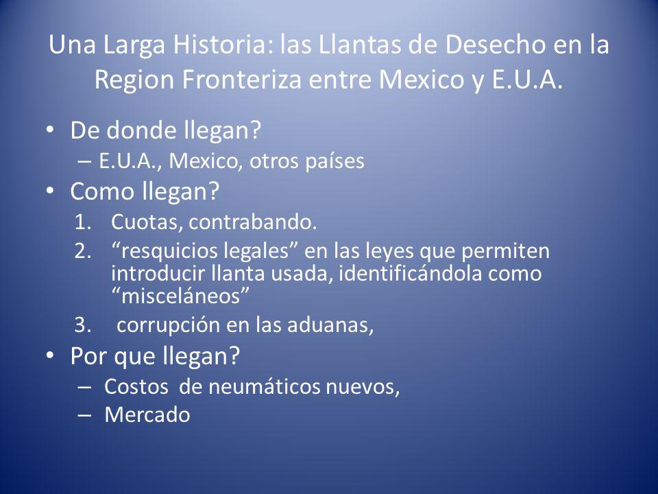 Una Larga Historia: las Llantas de Desecho en la Region Fronteriza entre Mexico y E.U.A. De donde llegan? – E.U.A., Mexico, otros países Como llegan?