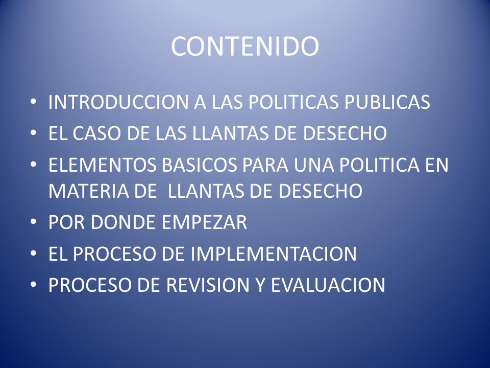 CONTENIDO INTRODUCCION A LAS POLITICAS PUBLICAS EL CASO DE LAS LLANTAS DE DESECHO ELEMENTOS BASICOS PARA UNA POLITICA EN MATERIA DE LLANTAS DE DESECHO