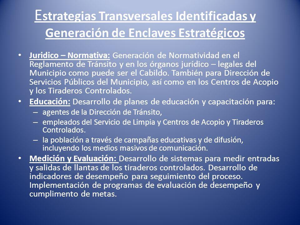 E strategias Transversales Identificadas y Generación de Enclaves Estratégicos Juridico – Normativa: Generación de Normatividad en el Reglamento de Tr