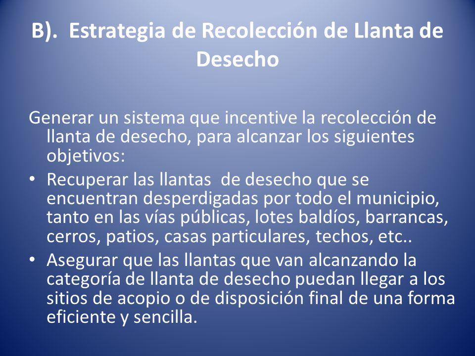 B). Estrategia de Recolección de Llanta de Desecho Generar un sistema que incentive la recolección de llanta de desecho, para alcanzar los siguientes