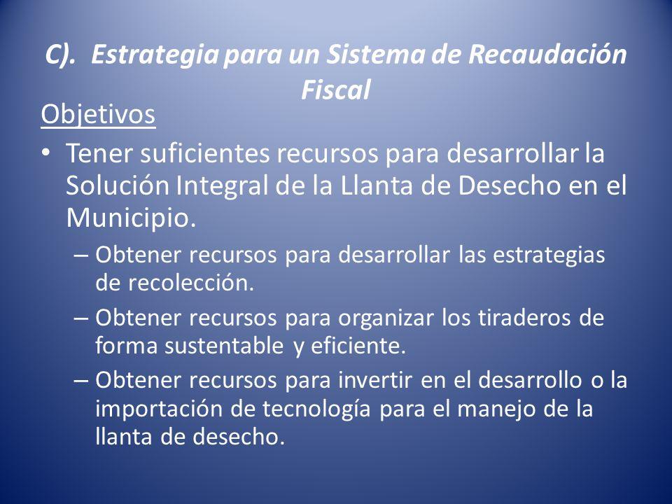 C). Estrategia para un Sistema de Recaudación Fiscal Objetivos Tener suficientes recursos para desarrollar la Solución Integral de la Llanta de Desech