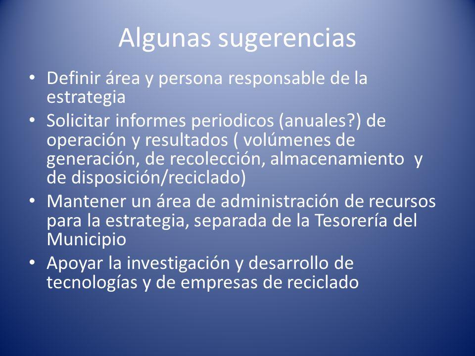 Algunas sugerencias Definir área y persona responsable de la estrategia Solicitar informes periodicos (anuales?) de operación y resultados ( volúmenes