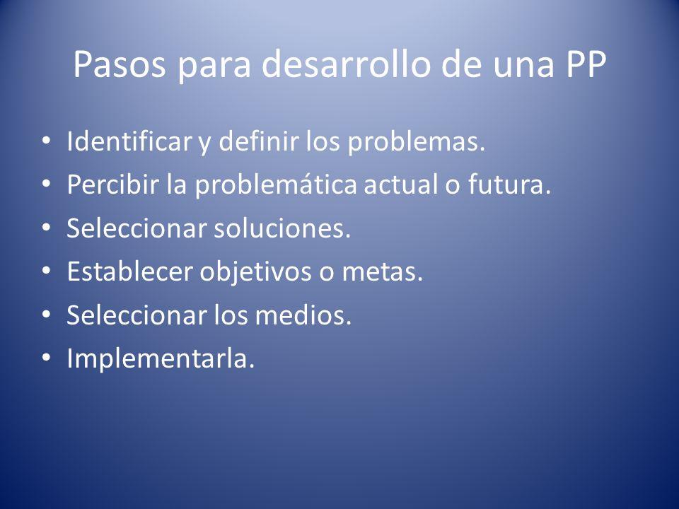 Pasos para desarrollo de una PP Identificar y definir los problemas. Percibir la problemática actual o futura. Seleccionar soluciones. Establecer obje