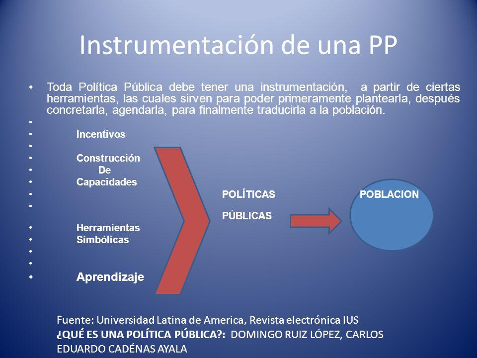 Instrumentación de una PP Toda Política Pública debe tener una instrumentación, a partir de ciertas herramientas, las cuales sirven para poder primera