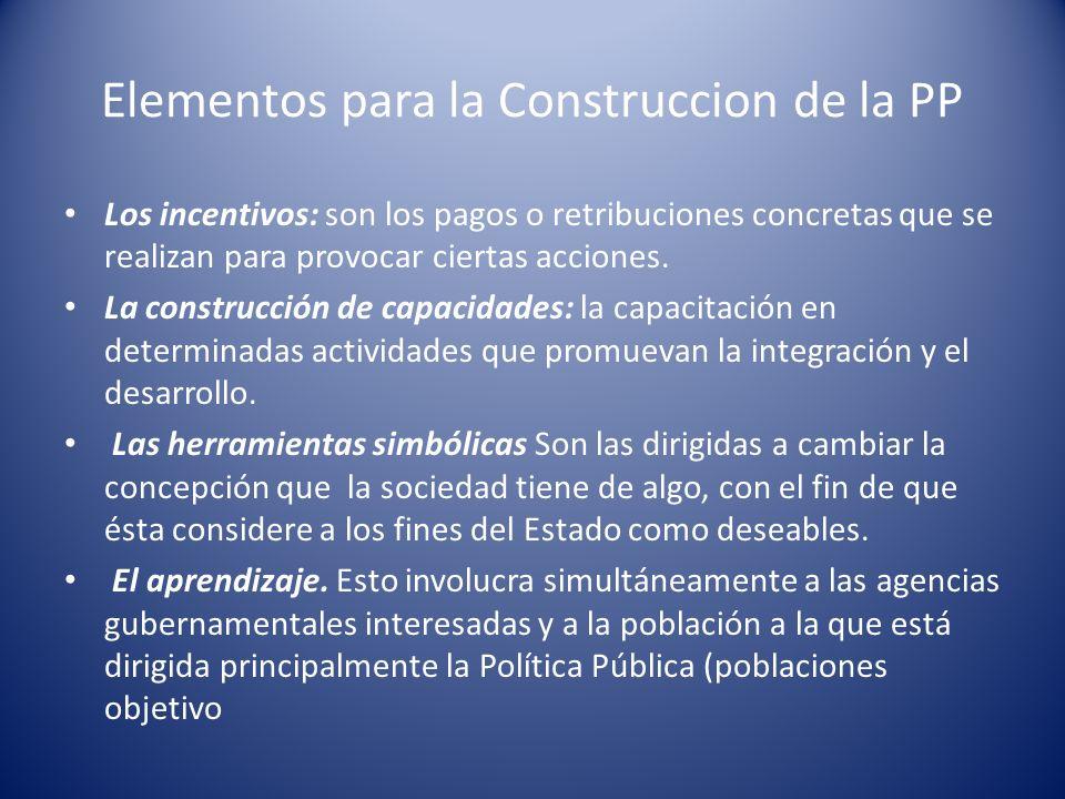Elementos para la Construccion de la PP Los incentivos: son los pagos o retribuciones concretas que se realizan para provocar ciertas acciones. La con