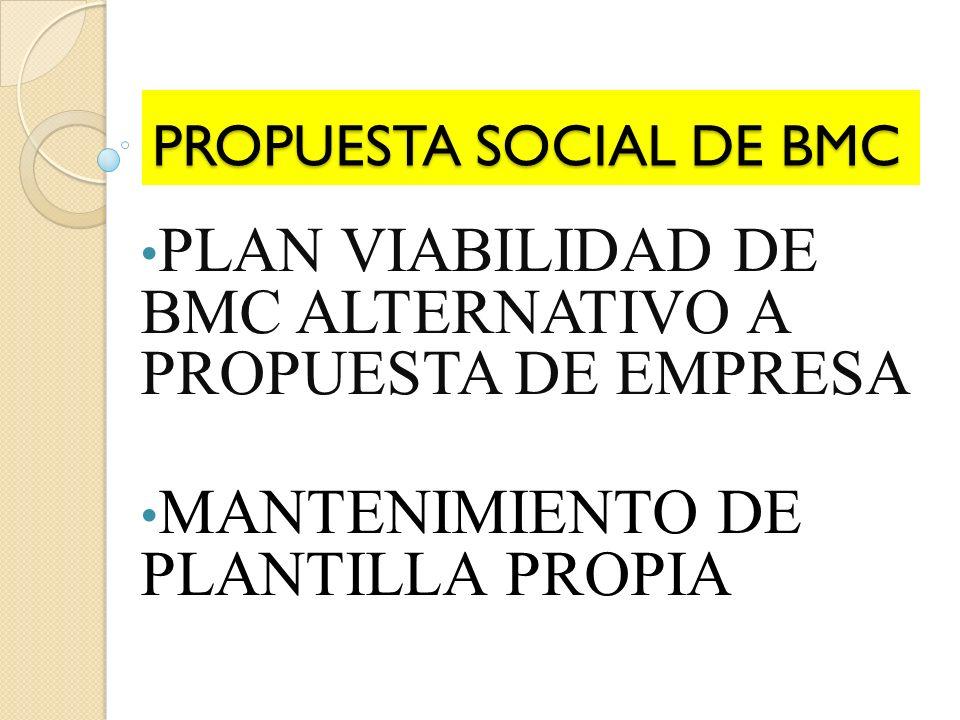 PROPUESTA SOCIAL DE BMC PLAN VIABILIDAD DE BMC ALTERNATIVO A PROPUESTA DE EMPRESA MANTENIMIENTO DE PLANTILLA PROPIA