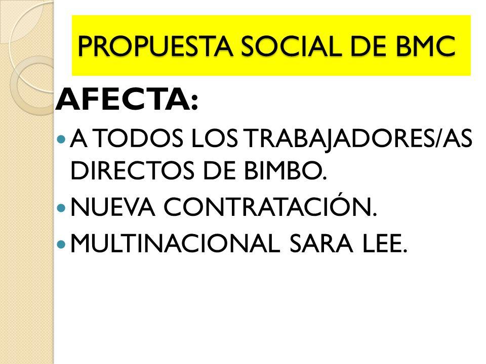 PROPUESTA SOCIAL DE BMC AFECTA: A TODOS LOS TRABAJADORES/AS DIRECTOS DE BIMBO. NUEVA CONTRATACIÓN. MULTINACIONAL SARA LEE.