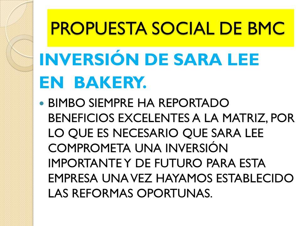 INVERSIÓN DE SARA LEE EN BAKERY.