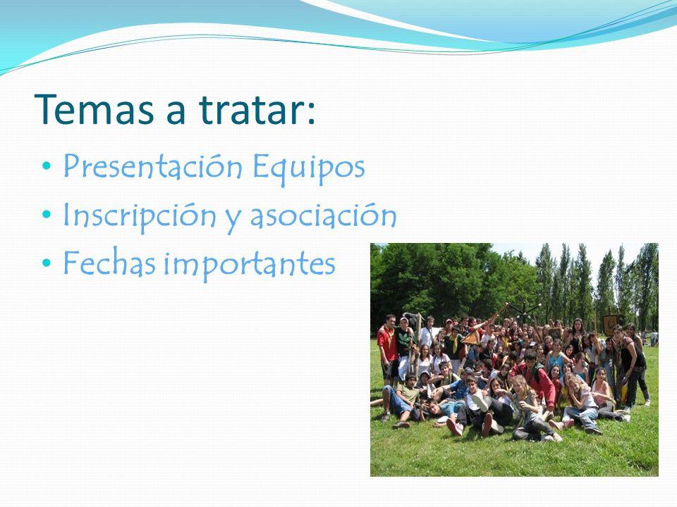 Temas a tratar: Presentación Equipos Inscripción y asociación Fechas importantes