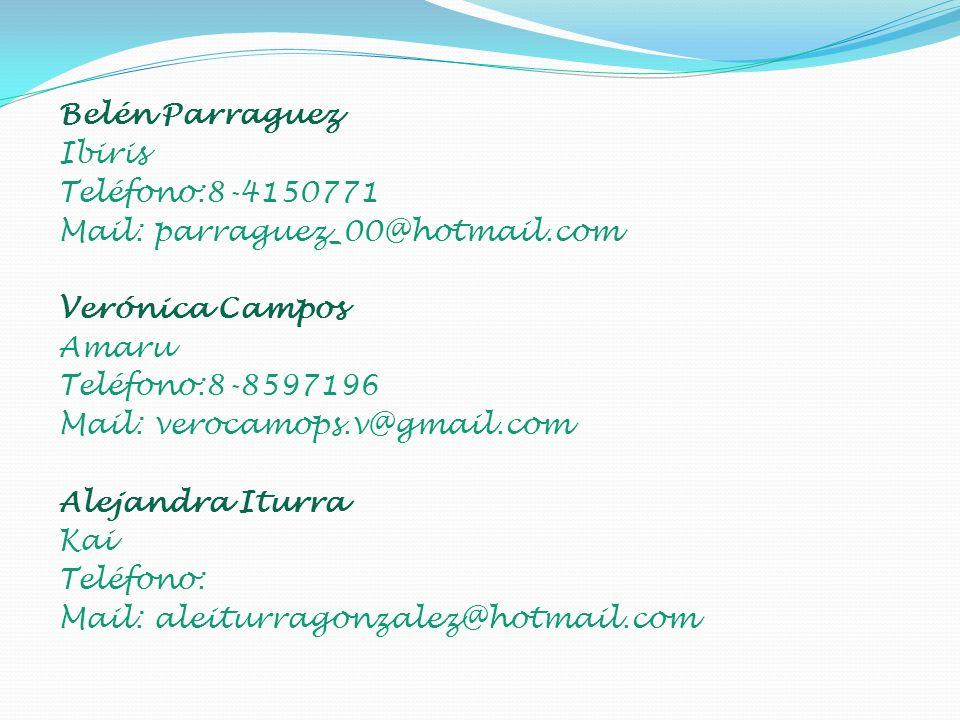 Belén Parraguez Ibiris Teléfono:8-4150771 Mail: parraguez_00@hotmail.com Verónica Campos Amaru Teléfono:8-8597196 Mail: verocamops.v@gmail.com Alejandra Iturra Kai Teléfono: Mail: aleiturragonzalez@hotmail.com