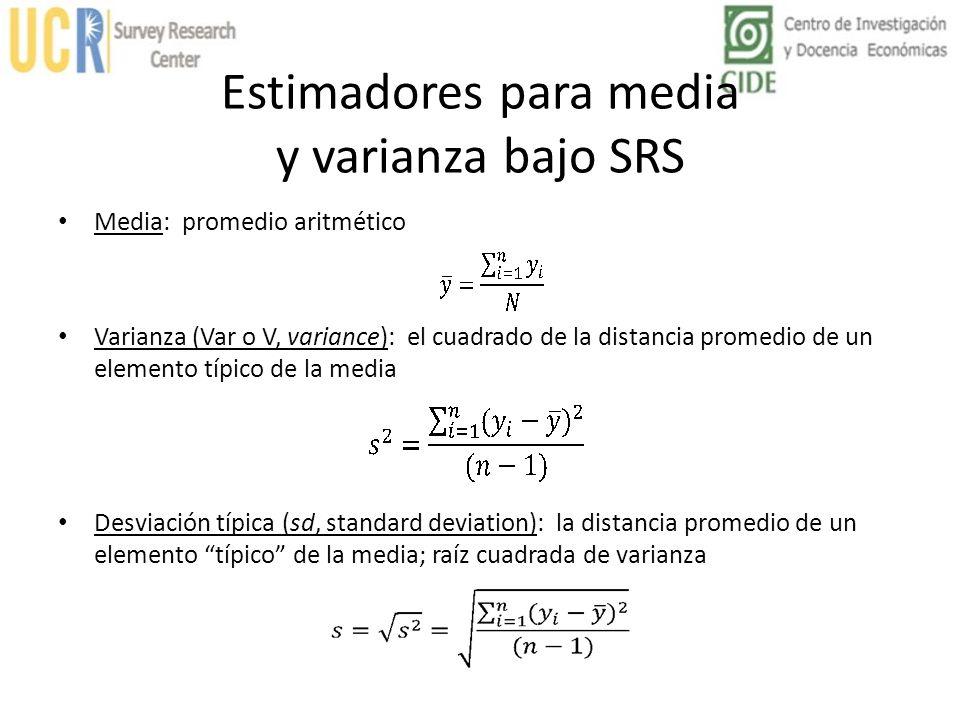 Estimadores para media y varianza bajo SRS Media: promedio aritmético Varianza (Var o V, variance): el cuadrado de la distancia promedio de un element