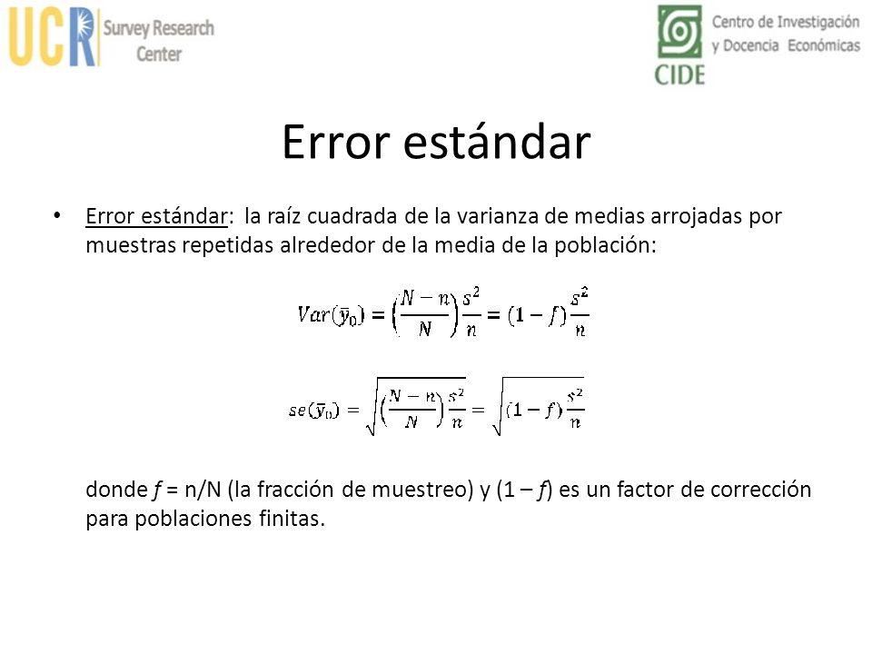 Error estándar Error estándar: la raíz cuadrada de la varianza de medias arrojadas por muestras repetidas alrededor de la media de la población: donde