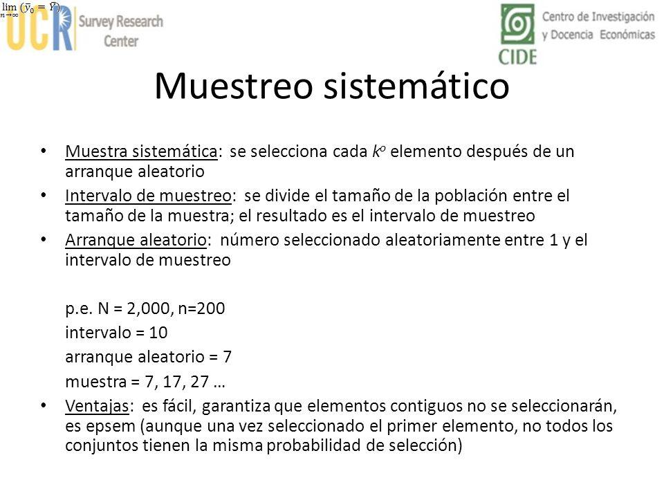 Muestreo sistemático Muestra sistemática: se selecciona cada k o elemento después de un arranque aleatorio Intervalo de muestreo: se divide el tamaño