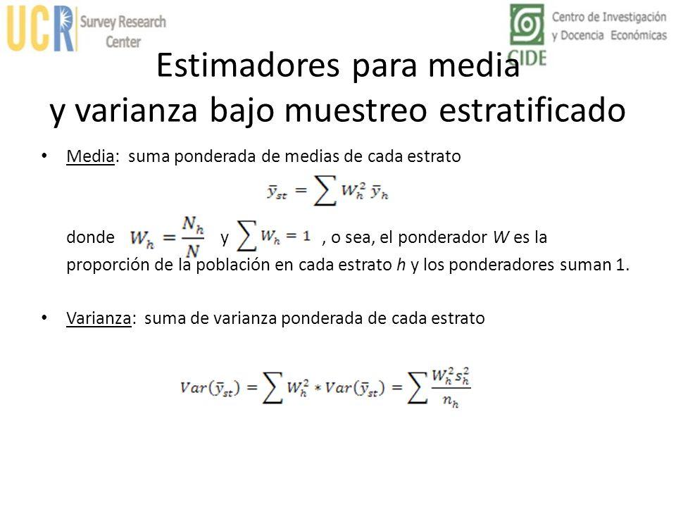 Estimadores para media y varianza bajo muestreo estratificado Media: suma ponderada de medias de cada estrato donde y, o sea, el ponderador W es la pr