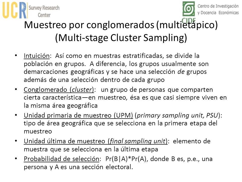Muestreo por conglomerados (multietápico) (Multi-stage Cluster Sampling) Intuición: Así como en muestras estratificadas, se divide la población en gru