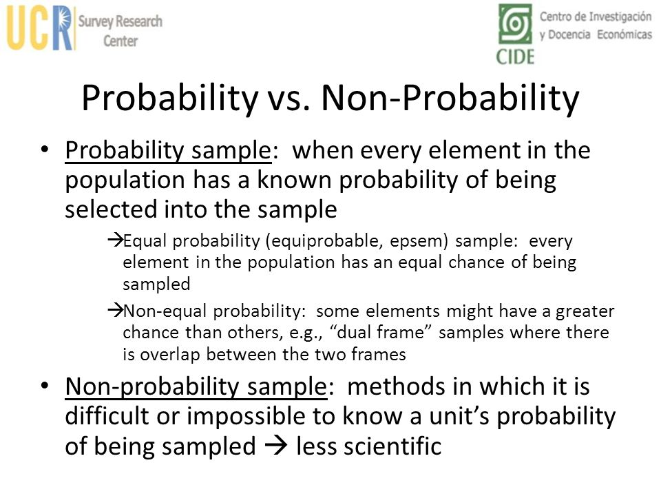 Non-Probability Sample Typical: sample of units that the researcher considers especially representative, according to census data no guarantee that these peoples attitudes are representative Purposive: deliberately selecting sample based on possession of characteristic under study; not necessarily representative, but important people e.g., elite decision-makers Volunteer (Convenience): people choose to participate in study possibility of selection bias; people who are interested or have strong opinions choose to participate Haphazard: Based on ease of contact, e.g., intercept-point sampling (contacting people at places where they work, shop, etc.) useful for sampling rare populations, but no guarantee of representativeness Quota: interviewers are assigned numerical targets based on demographic proportions